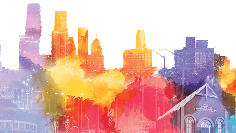 A colourful abstract image of various buildings in Peel region. Caption:Individuals keen to develop a local project to advance equity and inclusion in Peel region will be interested in the Community Leadership Program.