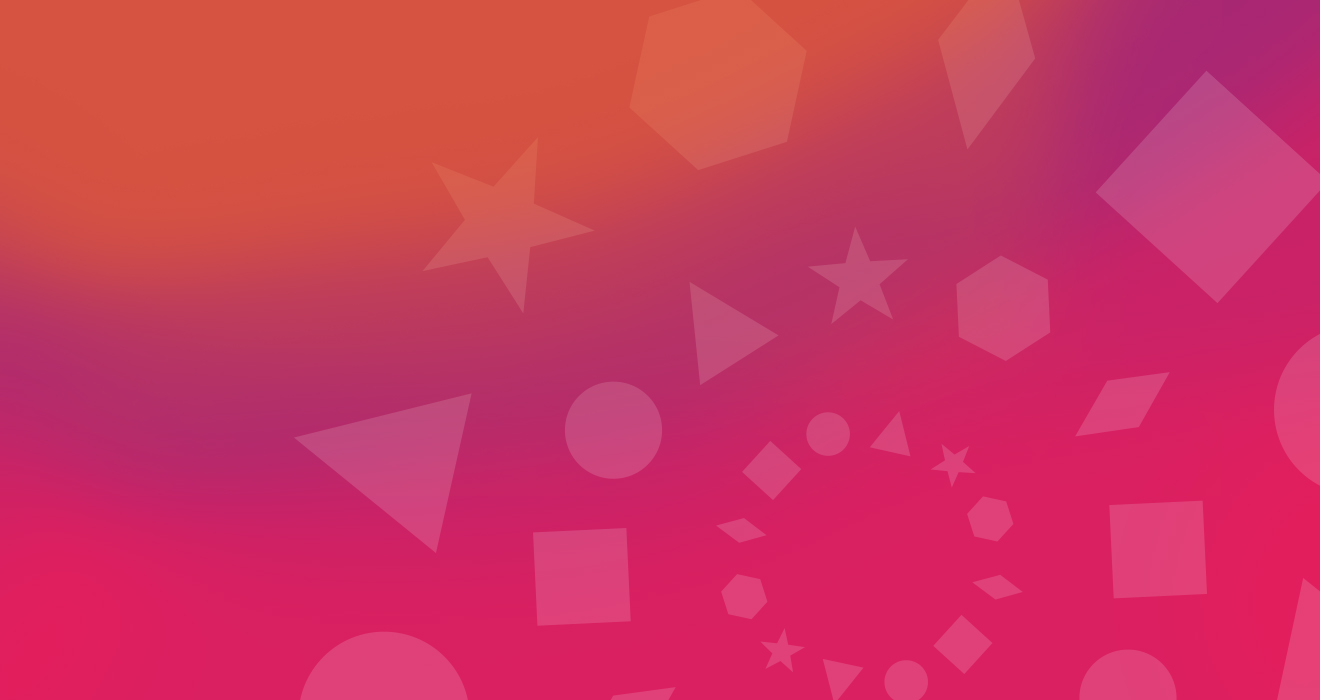 A orange and pink gradiant background with different geometric shapes overlayed. The shapes create circles. There are three circles that get gradually smaller and they're positioned on the lower right of the graphic and are cut off.